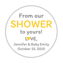 "From our shower to yours stickers - 1.5"" circle = 30 labels per sheet / Yellow - Dazzling Daisies"