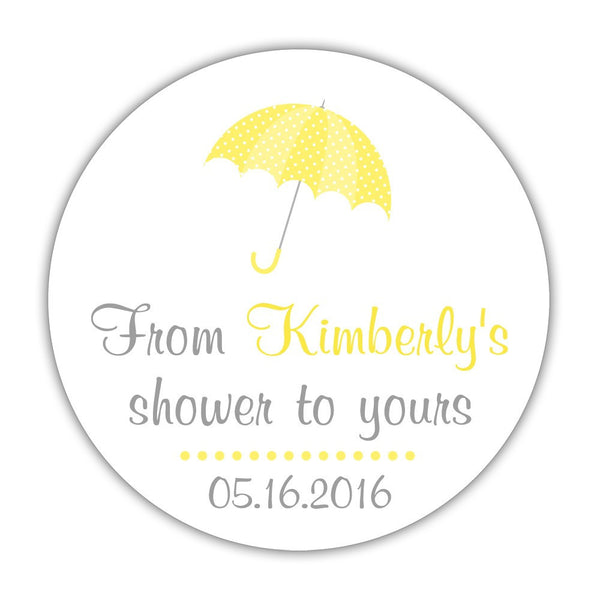"From my shower to yours stickers 'Ultimate Umbrella' - 1.5"" circle = 30 labels per sheet / Yellow - Dazzling Daisies"