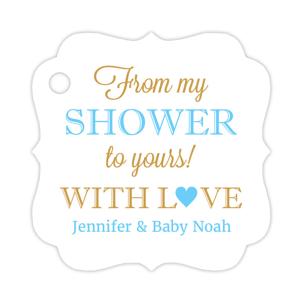 From my shower to yours tags - Gold/Sky blue - Dazzling Daisies