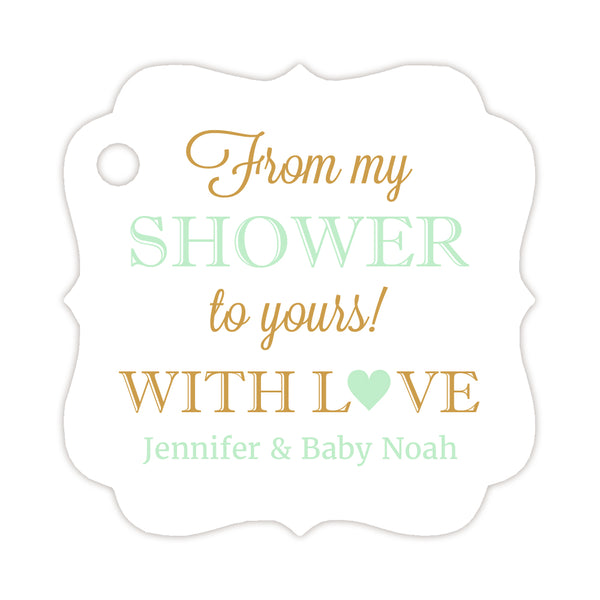 From my shower to yours tags - Gold/Mint - Dazzling Daisies