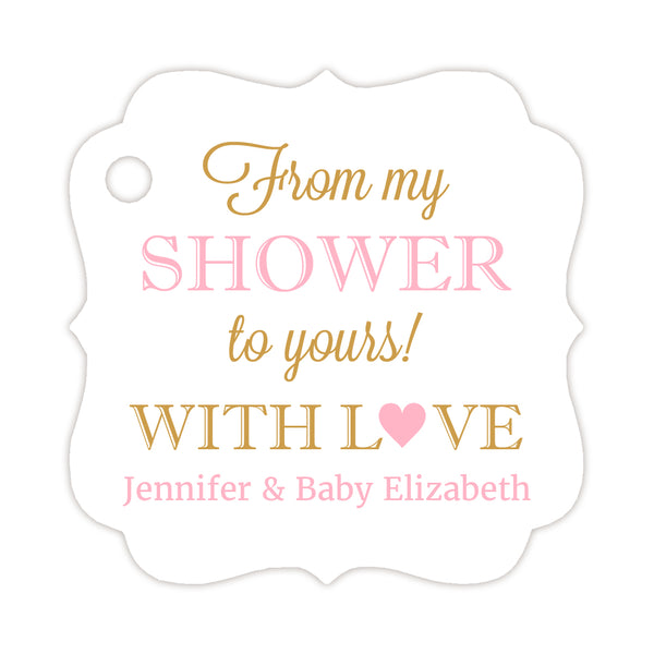 From my shower to yours tags - Gold/Pink - Dazzling Daisies
