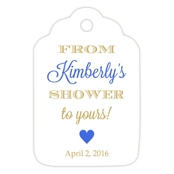 From my shower to yours tags 'Classic Elegance' - Gold/Royal blue - Dazzling Daisies