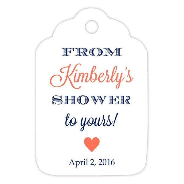 From my shower to yours tags 'Classic Elegance' - Navy/Coral - Dazzling Daisies