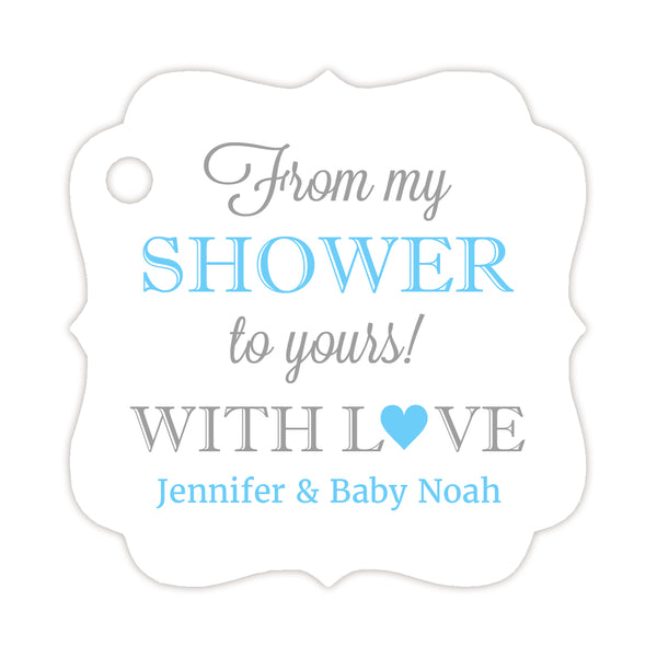 From my shower to yours tags - Silver/Sky blue - Dazzling Daisies