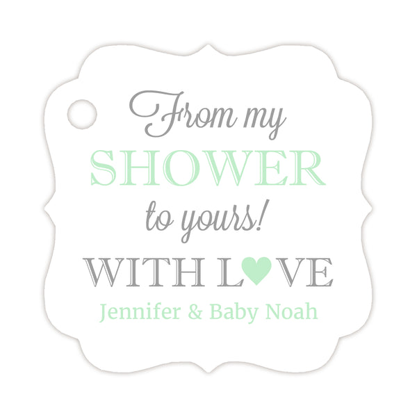 From my shower to yours tags - Silver/Mint - Dazzling Daisies