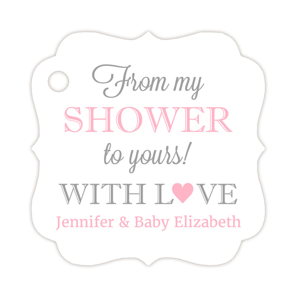 From my shower to yours tags - Silver/Pink - Dazzling Daisies