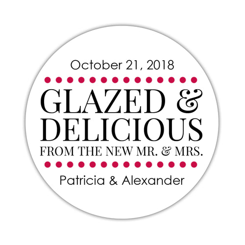 "Glazed and delicious stickers - 1.5"" circle = 30 labels per sheet / Raspberry - Dazzling Daisies"