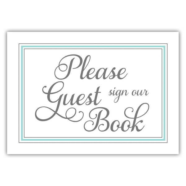 Guest book sign 'Elevated Elegance' - Aquamarine - Dazzling Daisies