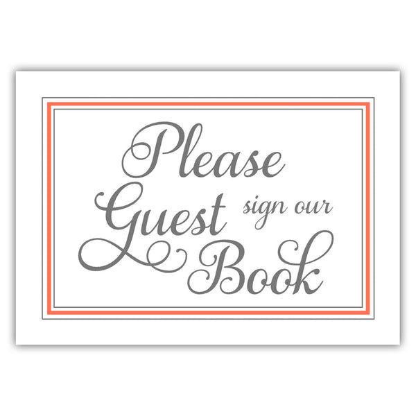 Guest book sign 'Elevated Elegance' - Coral - Dazzling Daisies