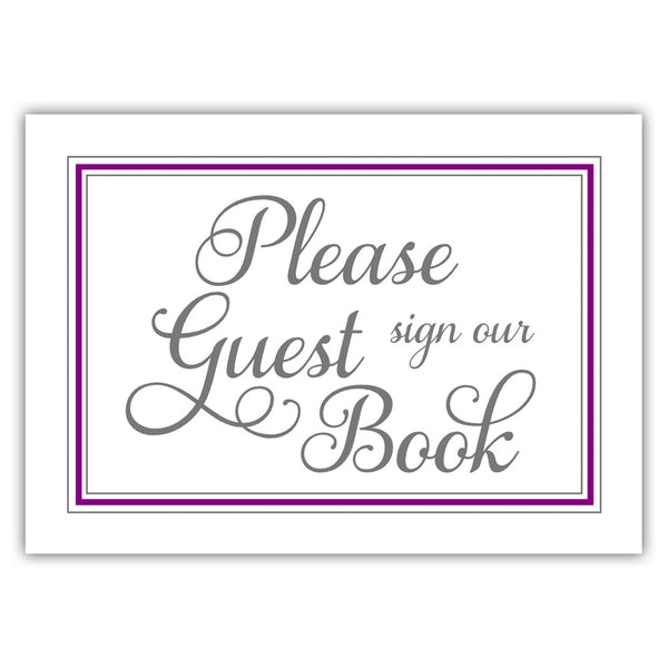 Guest book sign 'Elevated Elegance' - Purple - Dazzling Daisies