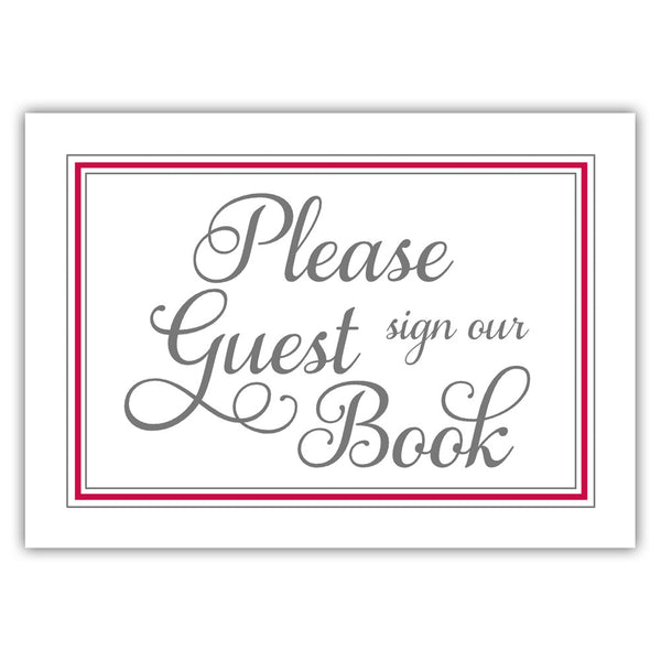 Guest book sign 'Elevated Elegance' - Raspberry - Dazzling Daisies