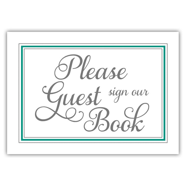 Guest book sign 'Elevated Elegance' - Teal - Dazzling Daisies
