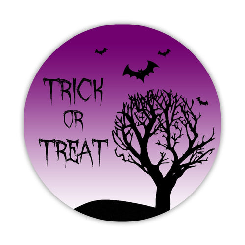 "Halloween stickers 'Creepy Tree' - 1.5"" circle = 30 labels per sheet / Purple - Dazzling Daisies"