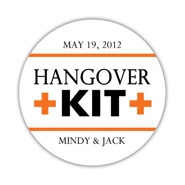 "Hangover kit stickers - 1.5"" circle = 30 labels per sheet / Black/Orange - Dazzling Daisies"