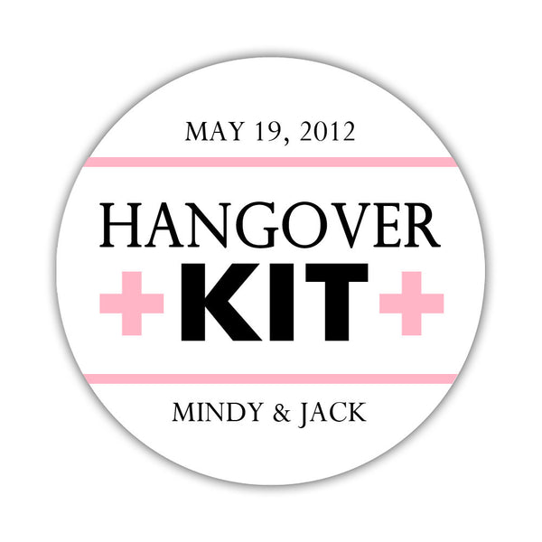 "Hangover kit stickers - 1.5"" circle = 30 labels per sheet / Black/Pink - Dazzling Daisies"