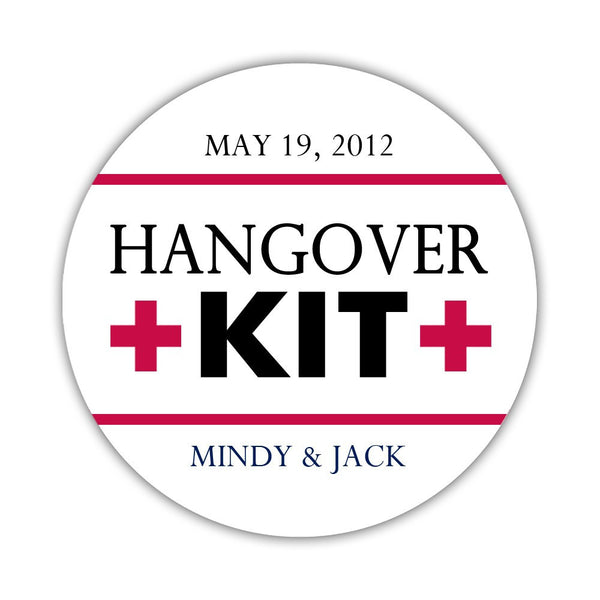 "Hangover kit stickers - 1.5"" circle = 30 labels per sheet / Black/Raspberry - Dazzling Daisies"