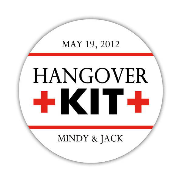 "Hangover kit stickers - 1.5"" circle = 30 labels per sheet / Black/Red - Dazzling Daisies"