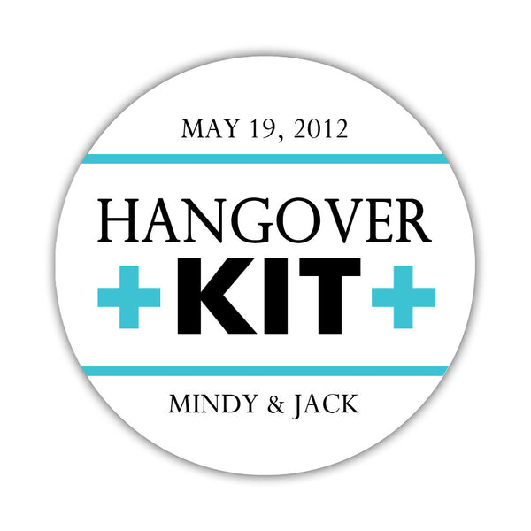 "Hangover kit stickers - 1.5"" circle = 30 labels per sheet / Black/Turquoise - Dazzling Daisies"