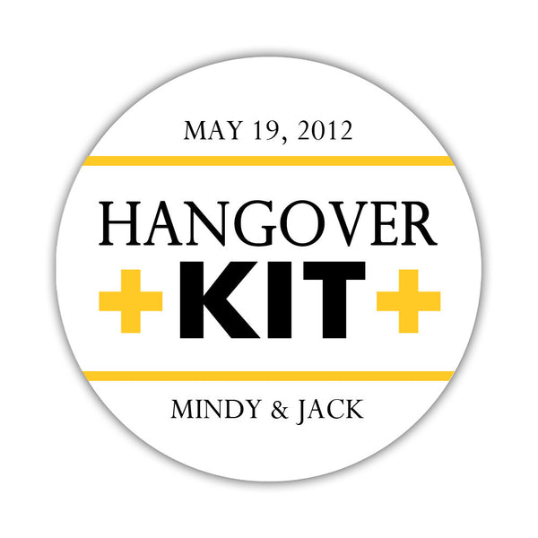 "Hangover kit stickers - 1.5"" circle = 30 labels per sheet / Black/Yellow - Dazzling Daisies"