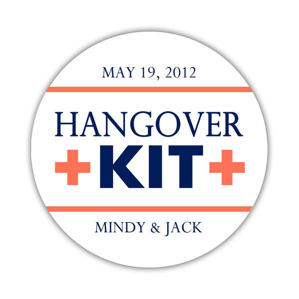 "Hangover kit stickers - 1.5"" circle = 30 labels per sheet / Navy/Coral - Dazzling Daisies"