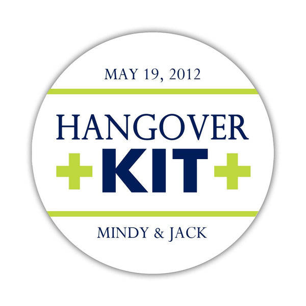 "Hangover kit stickers - 1.5"" circle = 30 labels per sheet / Navy/Lime - Dazzling Daisies"