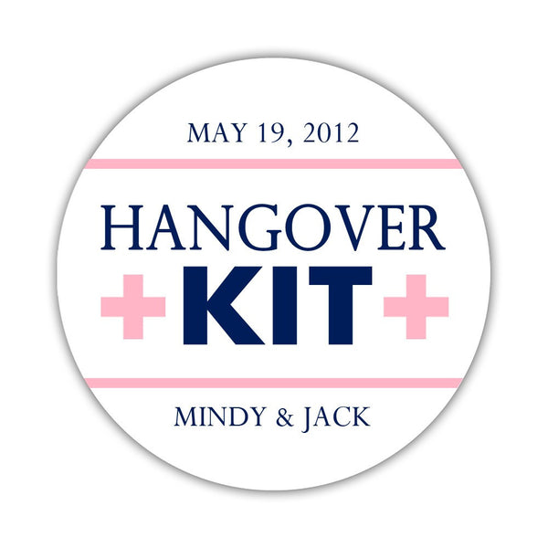 "Hangover kit stickers - 1.5"" circle = 30 labels per sheet / Navy/Pink - Dazzling Daisies"