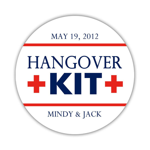 "Hangover kit stickers - 1.5"" circle = 30 labels per sheet / Navy/Red - Dazzling Daisies"