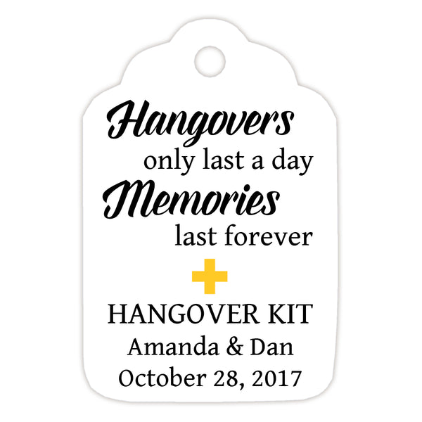 Hangover kit tags - Yellow - Dazzling Daisies