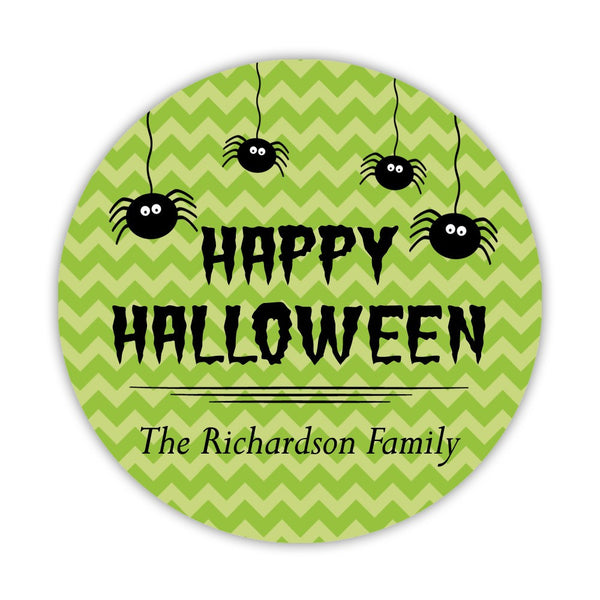 "Happy Halloween stickers 'Chevron Madness' - 1.5"" circle = 30 labels per sheet / Lime - Dazzling Daisies"