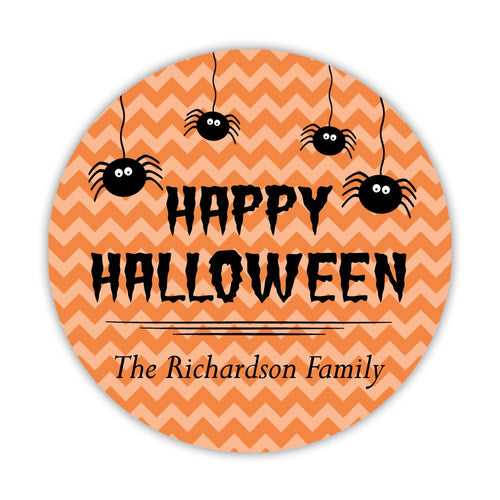 "Happy Halloween stickers 'Chevron Madness' - 1.5"" circle = 30 labels per sheet / Orange - Dazzling Daisies"