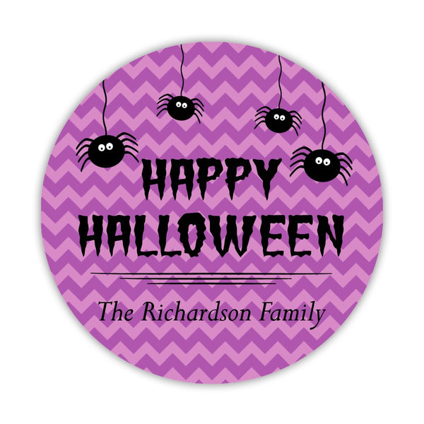 "Happy Halloween stickers 'Chevron Madness' - 1.5"" circle = 30 labels per sheet / Purple - Dazzling Daisies"