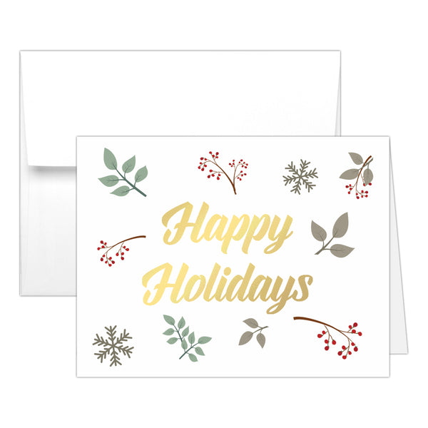 Christmas cards set 'Nature Hues' - Gold foil - Dazzling Daisies