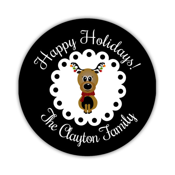 "Happy Holidays stickers 'Reindeer Cuteness' - 1.5"" circle= 30 labels per sheet / Black - Dazzling Daisies"