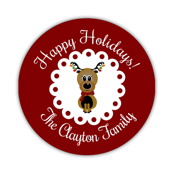 "Happy Holidays stickers 'Reindeer Cuteness' - 1.5"" circle= 30 labels per sheet / Indian red - Dazzling Daisies"