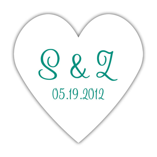 Initial stickers 'Heart Shape' - Teal - Dazzling Daisies