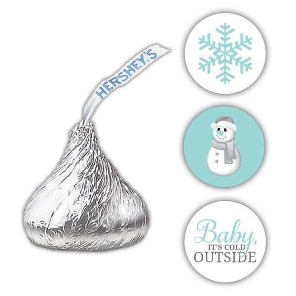 Hershey kiss stickers baby shower 'Baby it's cold outside' - Aquamarine - Dazzling Daisies