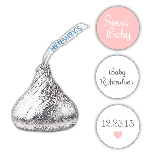 Hershey kiss stickers baby shower 'Sweet Baby' - Blush - Dazzling Daisies