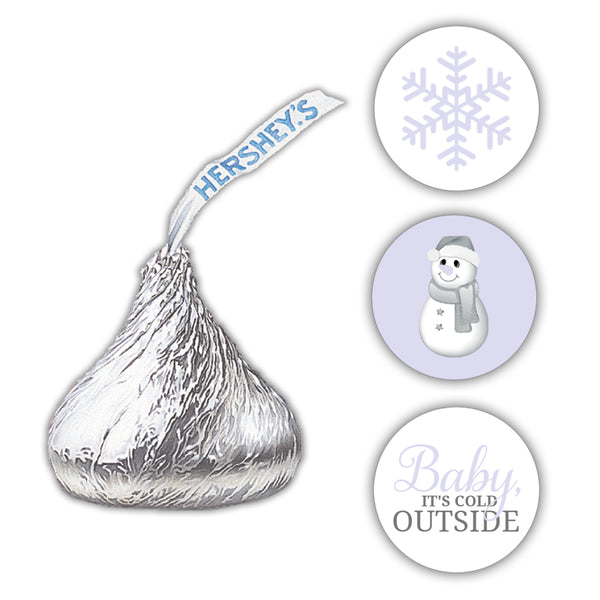 Hershey kiss stickers baby shower 'Baby it's cold outside' - Lavender - Dazzling Daisies