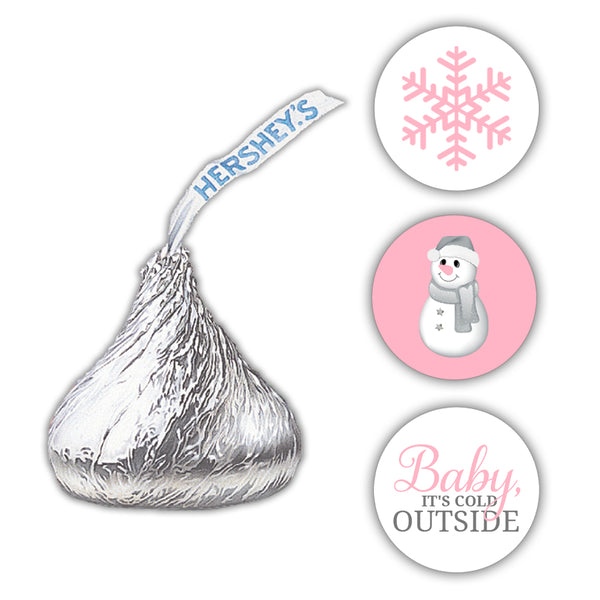 Hershey kiss stickers baby shower 'Baby it's cold outside' - Pink - Dazzling Daisies
