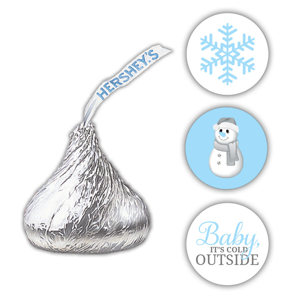 Hershey kiss stickers baby shower 'Baby it's cold outside' - Sky blue - Dazzling Daisies