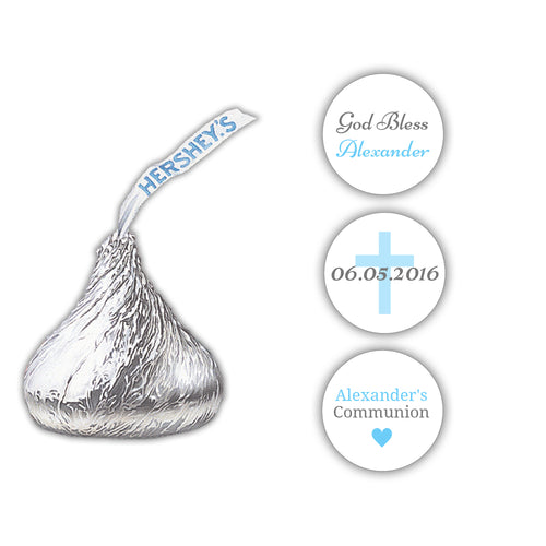 Hershey kiss stickers communion 'Basic Beauty' - Gray/Sky blue - Dazzling Daisies