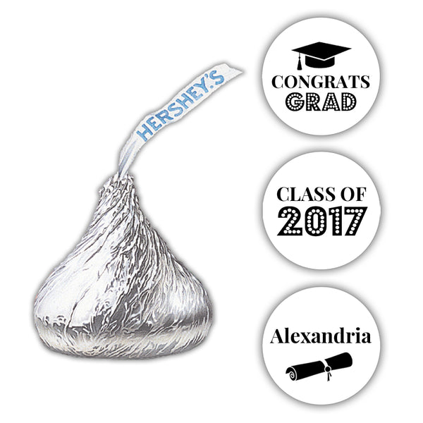 Graduation Hershey kiss stickers - Black - Dazzling Daisies