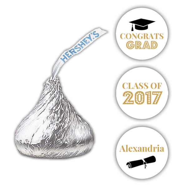 Graduation Hershey kiss stickers - Gold - Dazzling Daisies