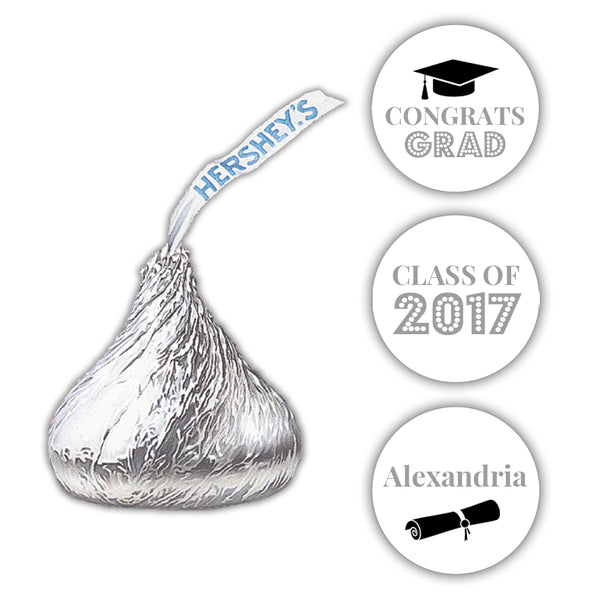 Graduation Hershey kiss stickers - Silver - Dazzling Daisies