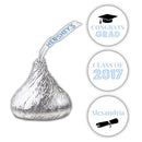 Graduation Hershey kiss stickers - Steel blue - Dazzling Daisies