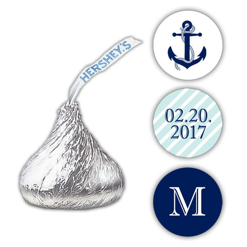 Nautical Hershey kiss stickers - Aquamarine - Dazzling Daisies