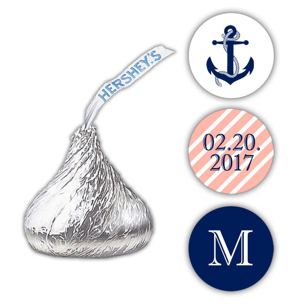 Nautical Hershey kiss stickers - Coral - Dazzling Daisies