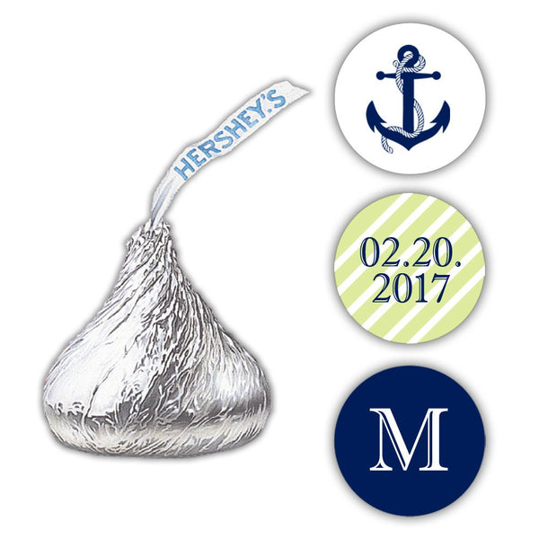Nautical Hershey kiss stickers - Lime - Dazzling Daisies