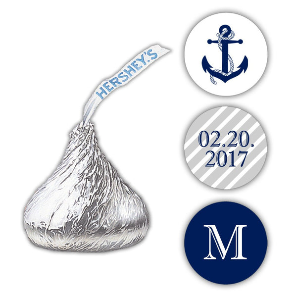 Nautical Hershey kiss stickers - Silver - Dazzling Daisies