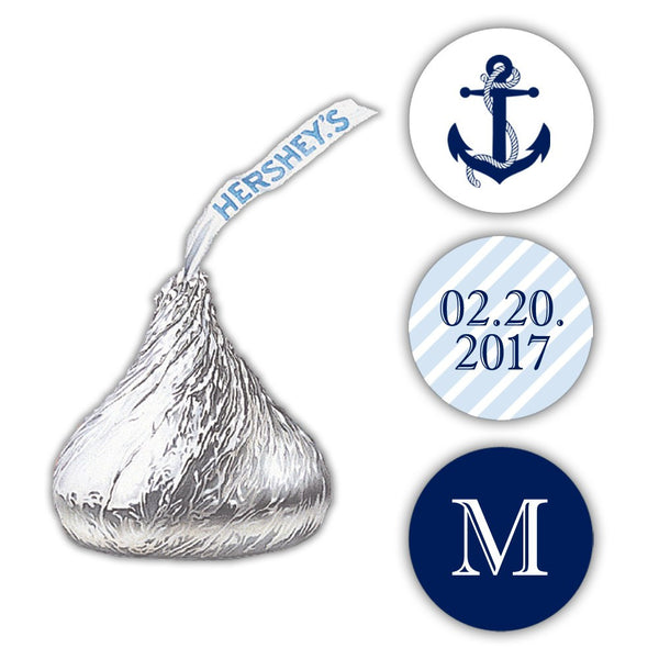 Nautical Hershey kiss stickers - Steel blue - Dazzling Daisies